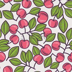 Seamless pattern design with cherries and cherry leaves