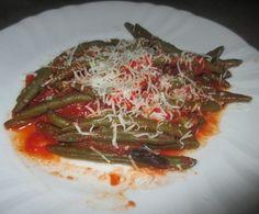 FORNELLI IN FIAMME: GREEN BEANS WITH FRESH TOMATO AND PECORINO CHEESE - Fagiolini con pomodoro fresco e pecorino