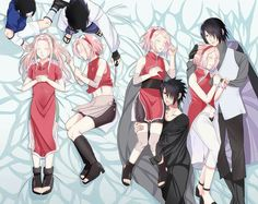 Sasuke and sakura.. her pants are unbuttoned in the oldest all the way to the right lmfao