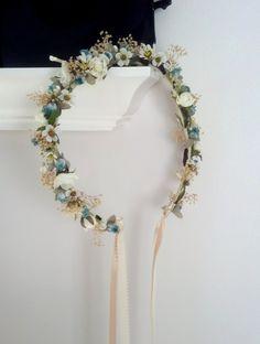 bridal Floral Crown aqua teal Daisy Hippie headwreath wedding hair accessories bohemian dried flower wreath for hair autumn spring boho halo by AmoreBride on Etsy