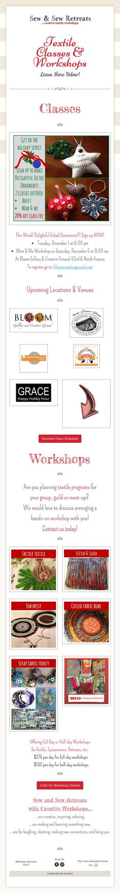 Textile Classes & Workshops Learn More Below!