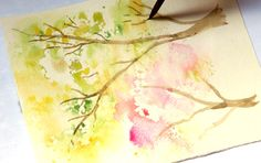 Spring Trees Watercolor Painting with... Crumbled Paper! - A Piece Of Rainbow