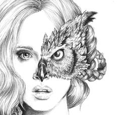Iris - illustration- Owl mask- Black and white- 8X10 signed print- woman -portrait