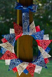 Bandana wreath - of July, Memorial Day Patriotic Wreath, Patriotic Crafts, July Crafts, Summer Crafts, 4th Of July Wreath, Holiday Crafts, Holiday Fun, Holiday Decor, Art Crafts