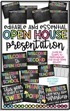 Editable and Essential Open House Presentation! Simply insert your own text to personalize this presentation! Everything you need for a successful Open House during Back to School!