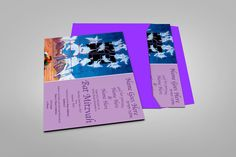 Bat Mitzvah Invitation with Purple Envelopes - Blocked Out Names and Dates