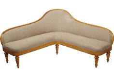 L-shaped Biedermeier settee in maple wood with heavy natural linen upholstery on OKL
