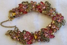 Vintage Juliana D&E Fuschia & Rose Rhinestone Floral Filigree 5 link bracelet  #Juliana #ChainLink