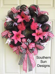 Flamingo Wreath Summertime Fun Black Mesh Wreath Pink/Black Ribbon and Bow Flamingo Ribbon by MySouthernSunDesigns on Etsy