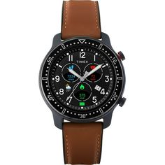 Timex Metropolitan R AMOLED Smartwatch with GPS & Heart Rate 42mm - Black with Brown Leather & Silicone Strap - Overstock - 31431677 Best Smart Watches, Brown Leather Strap Watch, Timex Watches, Men's Watches, Gift Of Time, Online Watch Store, Cool Things To Buy, Watches For Men, Heart Rate