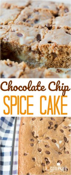 Chocolate Chip Cream Cheese Spice Cake recipe from The Country Cook