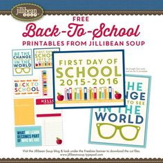Jillibean Soup Bean Talk: Free for All Friday: Back-To-School FREE Printables