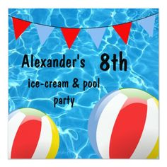 Shop Boy's Ice-Cream & pool Party Invitation created by Sarah_Designs. Pool Party Birthday Invitations, Boy Birthday Parties, 8th Birthday, Pool Party Cakes, Party Bunting, Water Party, Ice Cream Party, Masquerade Party, Custom Invitations