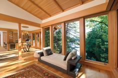 Lake Luzerne Residence Large Wall of Casement Windows Wooden Casement Windows, Windows And Doors, Window Manufacturers, Marvin Windows, Green House Design, Structural Insulated Panels, Door Images, Window Design, House And Home Magazine