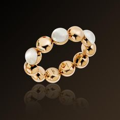 Moon - Vhernier  Bracelet in rose gold, whtie mother of pearl and rock crystal