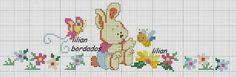 Merve Baby Cross Stitch Patterns, Cross Stitch For Kids, Cross Stitch Bird, Beaded Cross Stitch, Cross Stitch Charts, Baby Embroidery, Hand Embroidery Patterns, Embroidery Stitches, Embroidery Designs