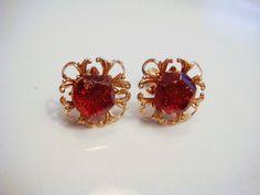 Gold Screw Back Amber Earrings Vintage by PaganCellarJewelry, $10.00