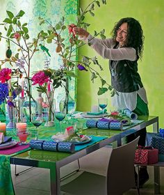 Tricia Guild..a designer who smiles as she designs. The Love she feels for her work skips onto her fabrics & colours. Watch out! Her colour exuberance is catching!
