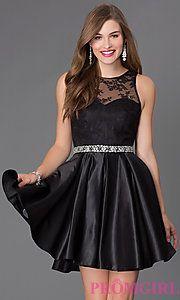 Buy Short Sleeveless Dress with Lace Embellished Bodice at PromGirl