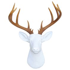 large deer head white deer head with natural brown antlers wall mount 14 point stag head antlers faux taxidermy