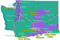 Washington State Wine Regions. Located approximately on the same latitude (46ºN) as some of the great French wine regions of Bordeaux and Burgundy, Washington State wine country now includes 11 federally recognized American Viticultural Areas (AVAs), commonly known as appellations; three of them share territory with Oregon State.