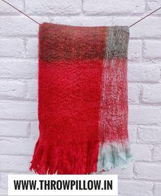 Red Plaid Alpaca Wool Throw