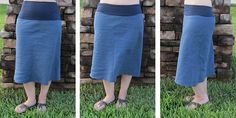jersey yoga waist bias skirt