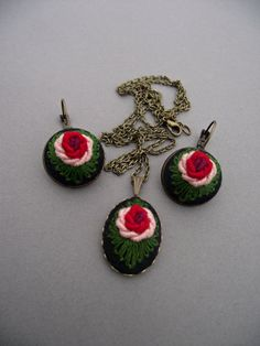Pendant with hand embroidered rose RED II by ZoZulkaart on Etsy