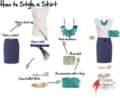 How to style a skirt - You can style it for a summers day for a relaxed business dress code at work or lunch out with the girls