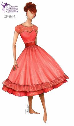 CCD-761-A  DESCRIPTION: dress w/built in square briefs, detail continues to back, zipper back, petticoat optional BASE PRICE: $129.50, $139.50 w/petticoat