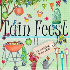 Tuinfeest BBQ Party Tuin Feest Letters - Invitation - Kaartje2go