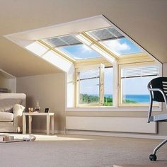 Velux Roof Window Fitting by Roof Windows fitters in West Midlands. Attic Loft, Loft Room, Bedroom Loft, Attic Library, Garage Attic, Attic House, Attic Ladder, Attic Spaces, Attic Rooms