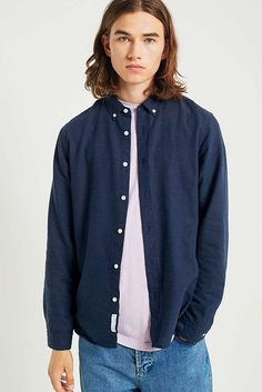 bfa5695429 Shore Leave by Urban Outfitters Blue Melange Twist Long-Sleeve Shirt