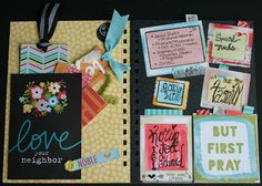 """Mercantile & Artistic Paperie: The Blessing Journal -2016 Right side features the Prayer board where you can change up and out any prayer requests you have. Washi tape was  used to add pull tabs. The pocket titled """"But First Pray"""" has additional blank papers to slide in new requests. Left side has a place for many already made bookmarks to hand out to someone as a blessing. Illustrated Faith & Bella blvd. make it a breeze to make bookmarks in a breeze with beautiful captions & colors."""