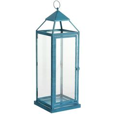 Pier 1 Imports Landen Lantern ($56) ❤ liked on Polyvore featuring home, home decor, candles & candleholders, teal, patio lanterns, pier 1 imports, outdoor patio lanterns, teal home decor and teal candles