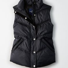 AE Puffer Vest ($30) ❤ liked on Polyvore featuring outerwear, vests, black, puffer vests, lightweight vest, quilted puffer vest, american eagle outfitters and zip vest