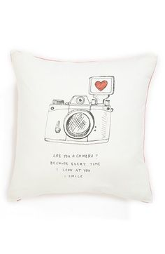 """""""are you a camera? because every time i look at you i smile."""" // cutest pillow @nordstrom"""