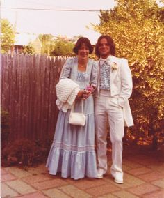 My husband Tom and I - South River High School, South River, NJ 1977 Senior Prom Grease Hairstyles, Ugly Outfits, Vintage Outfits, Vintage Fashion, Seventies Fashion, Bridesmaid Dresses, Prom Dresses, Guys And Dolls, Vintage Prom