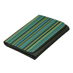 Fresh design in vibrant colors. Blue and lime green stripes on a black background. #accessories #stripes #wallet