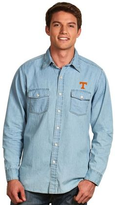 Antigua Men's Tennessee Volunteers Chambray Button-Down Shirt