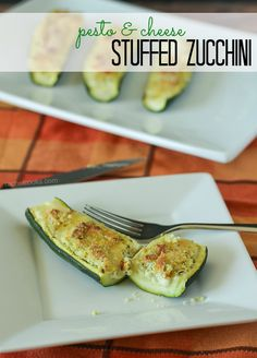 Pesto and Cheese Stuffed Zucchini - an easy side dish! Find the recipe on RachelCooks.com