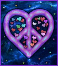 A HEART SHAPED PEACE SIGN. INSIDE IS TINY HEARTS OF DIFFERENT COLORS. OUTSIDE ARE STARS OF DIFFERENT COLORS AND EVERYTHING MOVES.