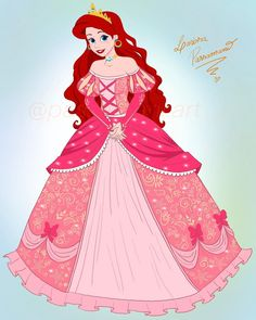 Princess Ariel in her new and beautiful pink dress Disney Movie Characters, Disney Movies, Disney Pixar, Disney Fan Art, Disney Style, Disney Princess Ariel, Disney Princesses, Candy Decorations, Handsome Prince
