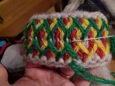 Här kommer en liten beskrivning med bilder hur jag gör mina Lovikkavantar.  Det är ingen utförlig instruktion utan mer en inblick i de oli... Crochet Mittens, Mittens Pattern, Knitting Socks, Knit Crochet, Mitten Gloves, Needlework, Knitting Patterns, Embroidery, Sewing