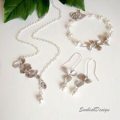 Orchid Jewelry Set, Orchid Necklace, Swarovski Pearl Bracelet, Orchid Earrings, Custom Initial Leaf Charm, Wedding Jewelry, Flower Jewelry