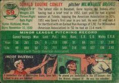 1954 Topps #59 Gene Conley Back