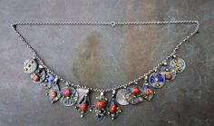 old kabyl silver necklace with enamel and mediteranean coral