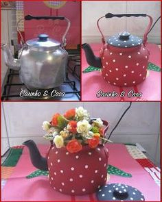Meu mundo decorado: personalizar Tin Can Crafts, Diy And Crafts, Teapot Crafts, Decoupage Furniture, Milk Cans, Tole Painting, Recycled Crafts, Bottle Crafts, Tea Party