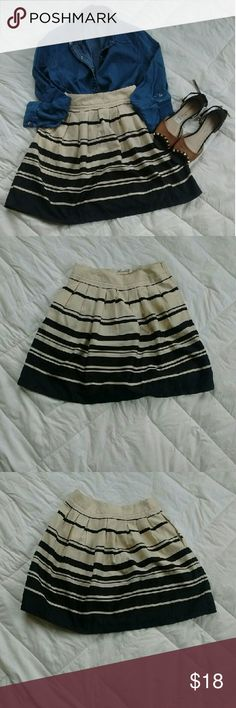 Annabella Skirt. Cream and black stripes. Super cute and dressy. Since its polyester I wanted to dress it down with a denim shirt but you can dress it up as well. Great condition. Perfect for fall/winter. Make an offer ladies; ?? Skirts Midi