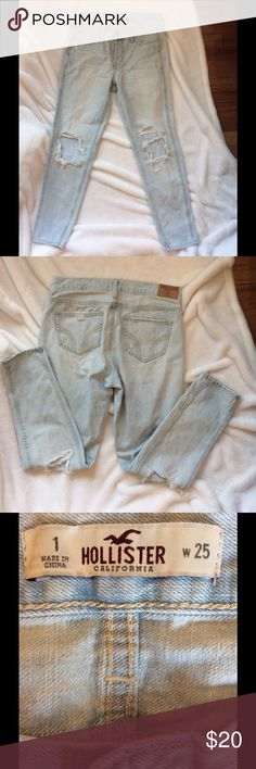 "Distressed holster button fly jeans Distressed light blue button fly jeans inseam 27"" Hollister Jeans Straight Leg"